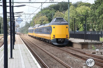 ICM koploper intercity on track at station 't Harde in the Netherlands