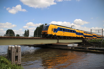 Rotating bridge over the Gouwe for trains at Alphen aan den Rijn