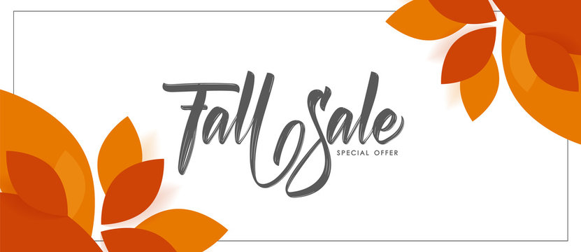 Autumn offer banner background with handwritten lettering of Fall Sale