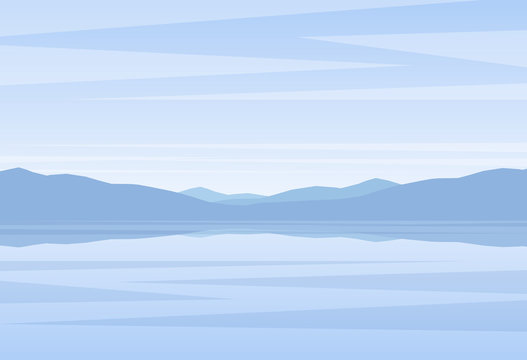 Calm blue Landscape with lake or bay and mountains on horizon