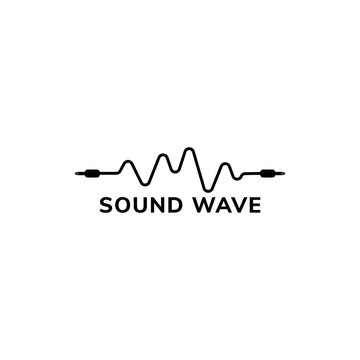 Sound Wave Logo Design Template, Cable Jack Logo Concept, Black and White