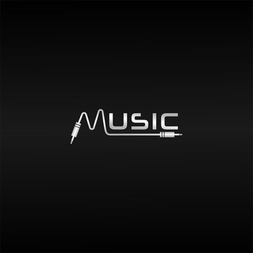 Silver Music Wave Logo Design Template, Cable Jack Logo Concept, Black Background