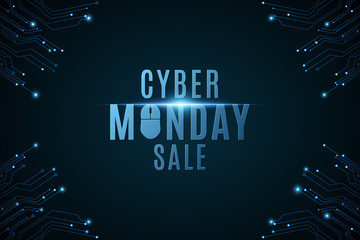 Cyber Monday Sale. High-tech background from a computer circuit board. Computer mouse. Glowing neon blue connecting lines with lights. Vector illustration