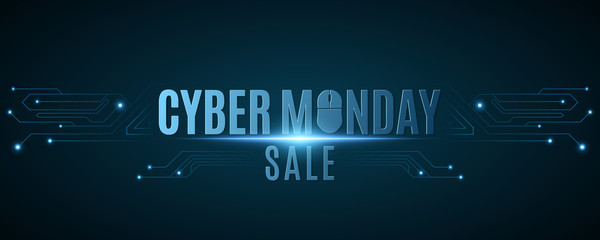 Cover for cyber monday sale. Hi-tech background from a computer circuit board. Computer mouse. Glowing neon blue connecting lines with lights. Vector illustration