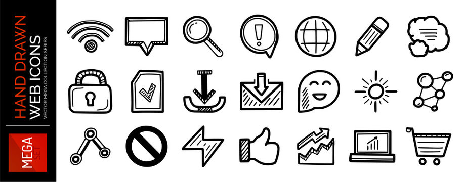 Set of hand drawn black web internet icons: wifi, speech bubble, magnifier, pencil, lock, email, stop and other symbos. Vector sketch style design