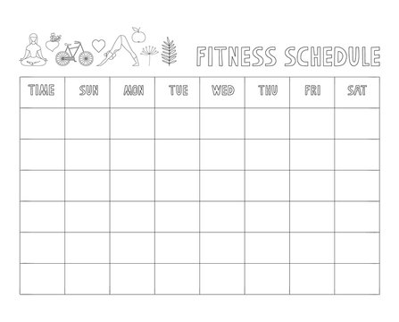 Fitness schedule design. Vector isolated illustration.