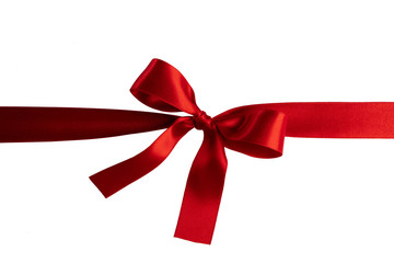 Wall Mural - Red ribbon bow on white