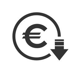 Cost reduction- decrease euro icon. Vector symbol image isolated on background .