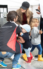 Sweden's Princess Sofia with Prince Carl Philip and their sons Prince Alexander and Prince Gabriel visit the Gellerasen race track in Karlskoga
