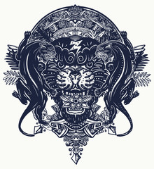 Black panthers and mayan sun calendar. Esoteric tattoo and t-shirt design. Wild cats totem and jungle. Mesoamerican mexican art