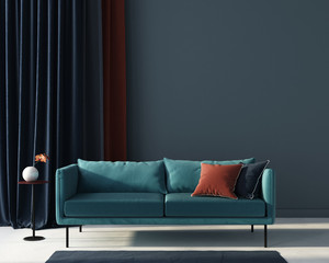 Living room in blue with terracotta pillow. 3d render