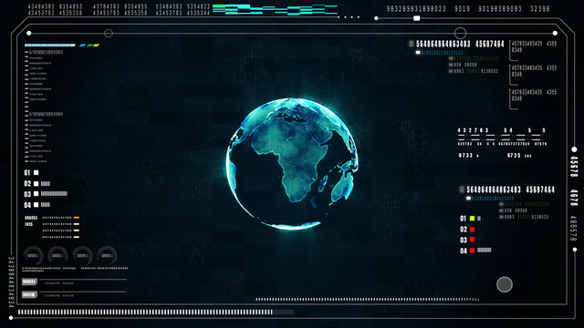 Hi-Tech futuristic user interface head up display screen with digital data and information display and technology network background concept. Earth Element Furnished by Nasa