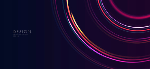 neon glowing lines forming abstract circles, space background Fototapete