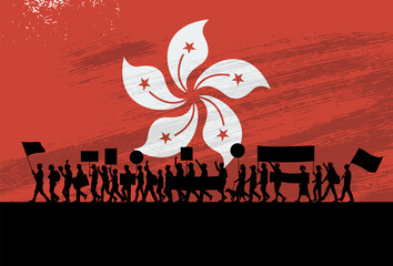 Silhouette of people protesting with a flag of Hong Kong as a background Fotomurales