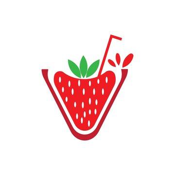 stawberry juice logo vector
