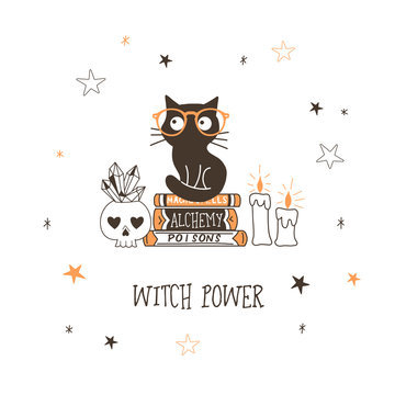 Black cat in glasses flat vector illustration. Witch animal sitting on books. Sorceress power. Alchemy and witchcraft. Skull with crystals, candles isolated design element on starry white background
