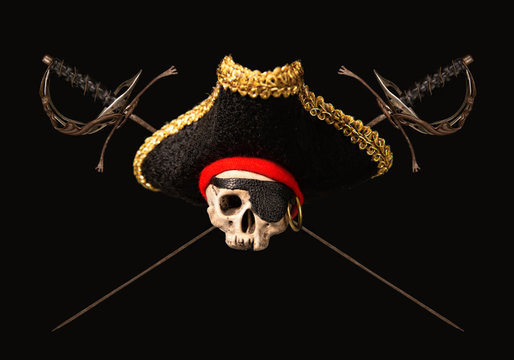 skull in a pirate cocked hat with crossed old swords on a dark background