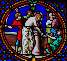 Stained Glass in Notre-Dame-des-flots, Le Havre - Flagellation of Jesus