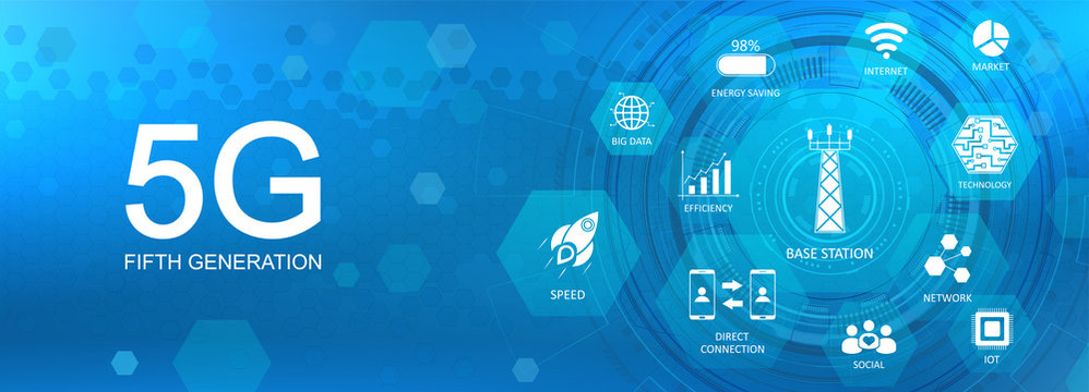 5G technology banner with Key aspects of the internet. New generation mobile networks and internet. 5G technology background. Infographic concept banner Blue vector illustration.