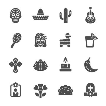 Day of the Dead celebration vector icons