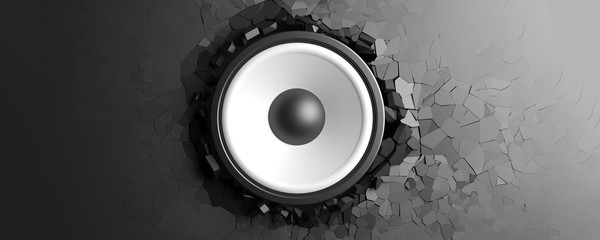Black wall breaks from sound with speaker. 3d illustration