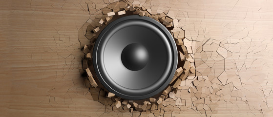Wooden wall breaks from sound with speaker. 3d illustration