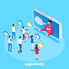 isometric vector image on a blue background, a man in a smartphone and his followers with likes, high popularity in social networks