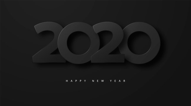 Merry Christmas and Happy new year 2020 banner with black luxury numbers and text. Festive Numbers Design. Vector illustration