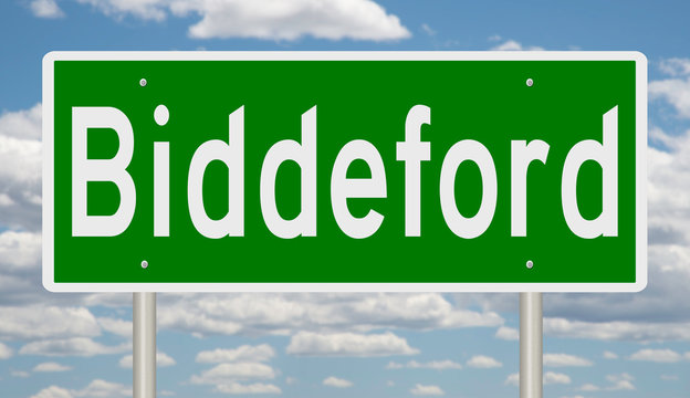 Rendering of a green highway sign for Biddeford Maine