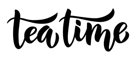 Tea time brush lettering hand-drawn composition. Black and white isolated minimalistic ink illustration for posters, cards and other.