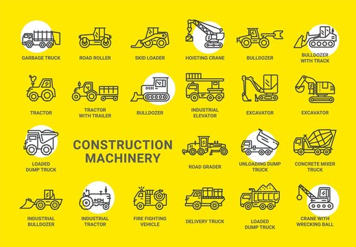 Construction Machinery icon collection design