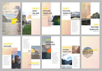 Creative social networks stories design, vertical banner or flyer templates with colorful yellow gradient backgrounds. Covers design templates for flyer, leaflet, brochure, presentation, advertising. Fototapete