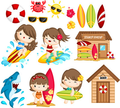 a vector of many object and activities related to woman surfing