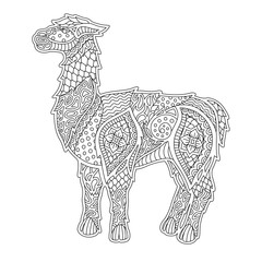 Linear art for coloring book with lama silhouette