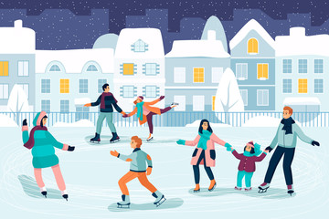 Happy young people skating. Couple, kids and family spend time on ice rink. Vector flat cartoon illustration.