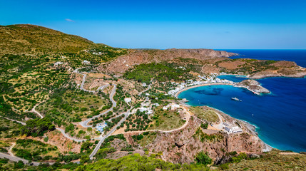 Wall Mural - Panoramic landscape view of Kapsali Bay, Kythira Island, Greece.