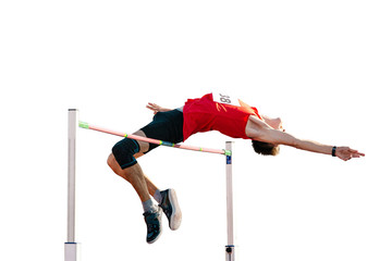 men high jumper high jump isolated on white background