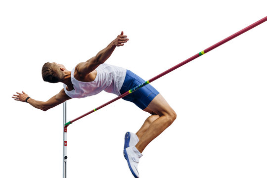 high jump athlete jumper over bar isolated on white background