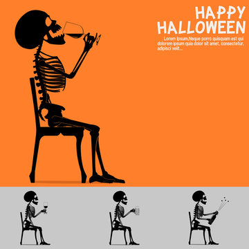 Set of the skeleton with beverage on transparent background