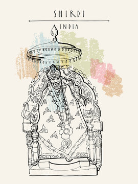 Shirdi, Maharashtra, India. Sai Baba temple. Travel sketch art. Vintage hand drawn postcard in vector