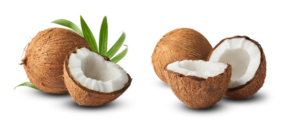 Set with Fresh raw coconut with palm leaves isolated on white background. Fototapete
