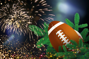 Rugby ball, Festive christmas decoration with firework for christmas and new year