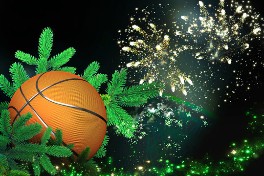 Basket ball, Festive christmas decoration with firework for christmas and new year