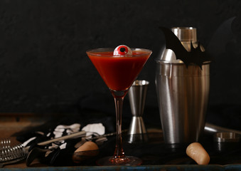 cocktail for the holiday halloween on a dark background
