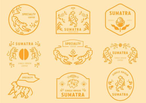 Sumatra coffee logo badge with tiger