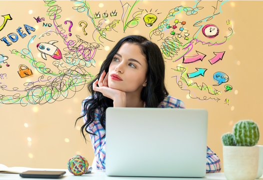 Many thoughts with young woman using a laptop