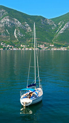 boat, sailing ship on sea with mountain
