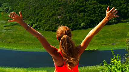 woman sport success, happy successful sport woman raising arms in the airs
