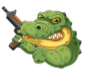 Strong and angry cartoon crocodile holding an gun