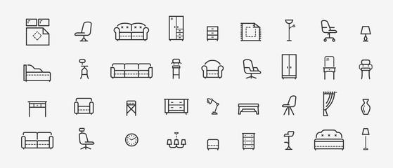 Furniture, line icons set. Collection black outline logo for mobile apps web or site design. Interior vector illustration